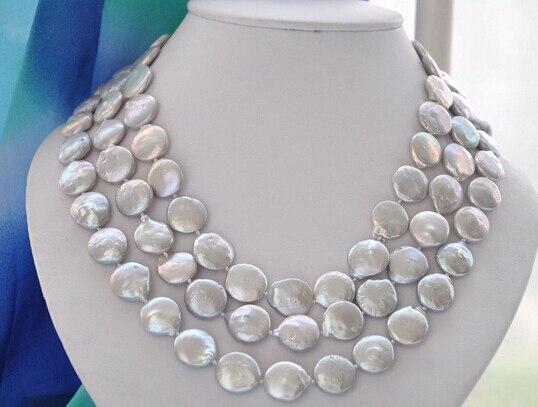 LIVRAISON GRATUITE ddh001961 RÉEL 3row 14mm gris perles d'eau douce collier