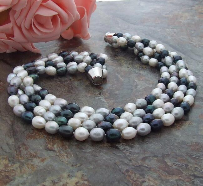 Beautiful Multi Color Rice freshwater Pearl 4row Necklace