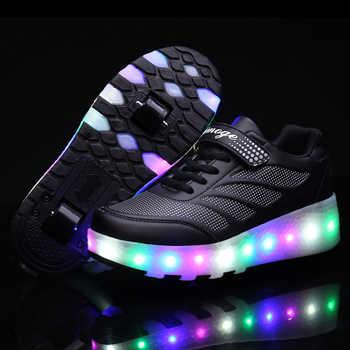 Heelies LED Light Sneakers with Double TWO Wheel Boy Girl Roller Skate Casual Shoe Boy Lover Girl Zapatillas Zapatos Con Ruedas
