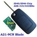 Новый дистанционный ключ-брелок от машины с 2 кнопками для Chery Tiggo A3 433 МГц/315 МГц с ключом для дистанционного управления с чипом ID40 ID46