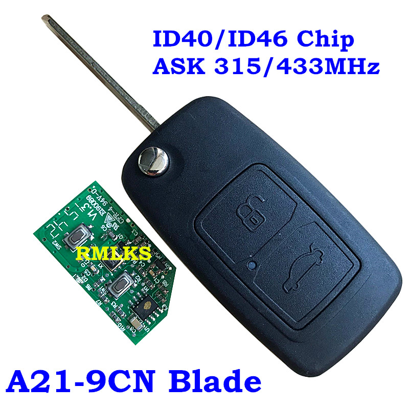 New 2 Button Flip Remote Car Key Fob For Chery Tiggo A3 433MHZ/315MHZ With A21 9CN Blade ID40 ID46 Chip Foldig Remote Key|Car Key| |  - title=