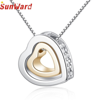Necklace women 1PC Fashion Double Heart Crystal Rhinestone Eternal Love Silver Necklace double heart necklace db13 p30