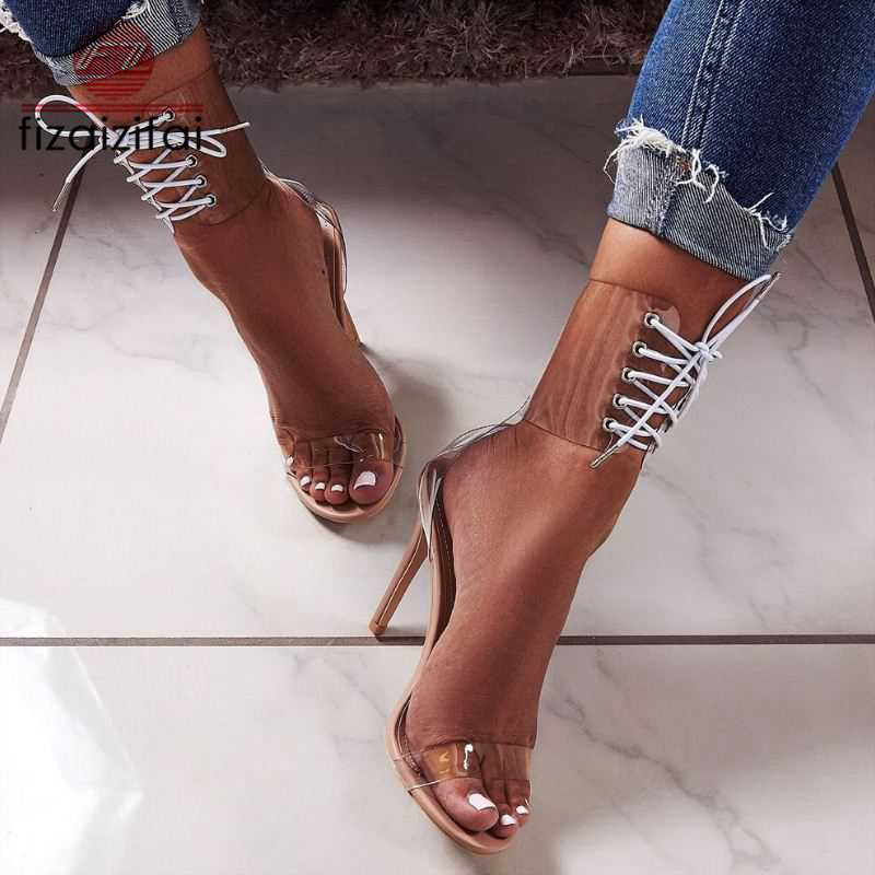 Clever Fizaizifai Lady Cross Strap Hohe Qualität Super High Heel Sandalen Sommer Party Urlaub Schuhe Frauen Sexy Youngs Schuhe Größe 35 -40