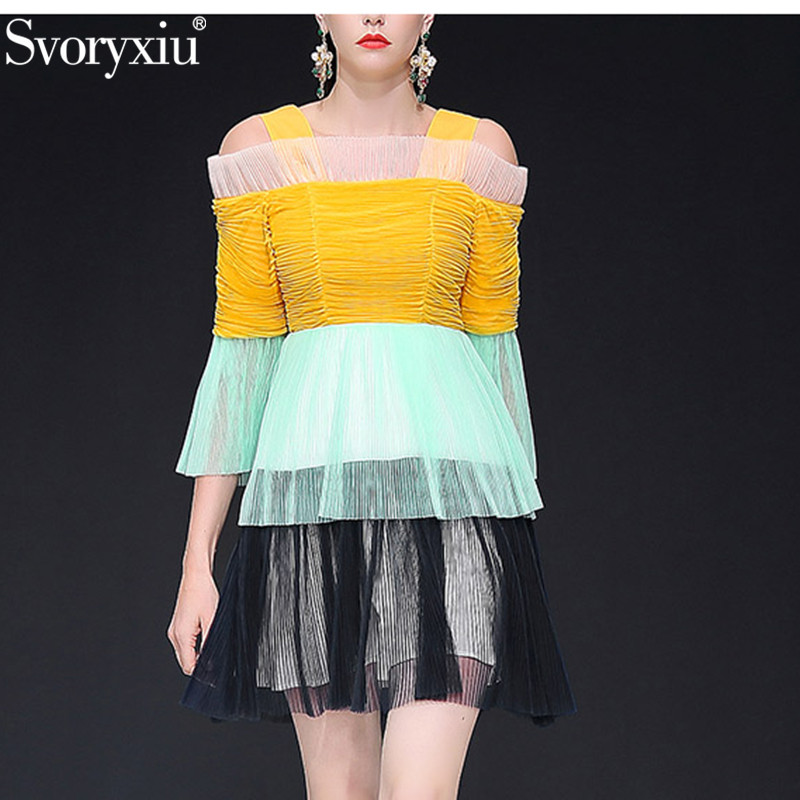 Svoryxiu Sexy Off Shoulder Mesh Fold Dress Women s Fashion Color Matching Runway Summer Spaghetti Strap