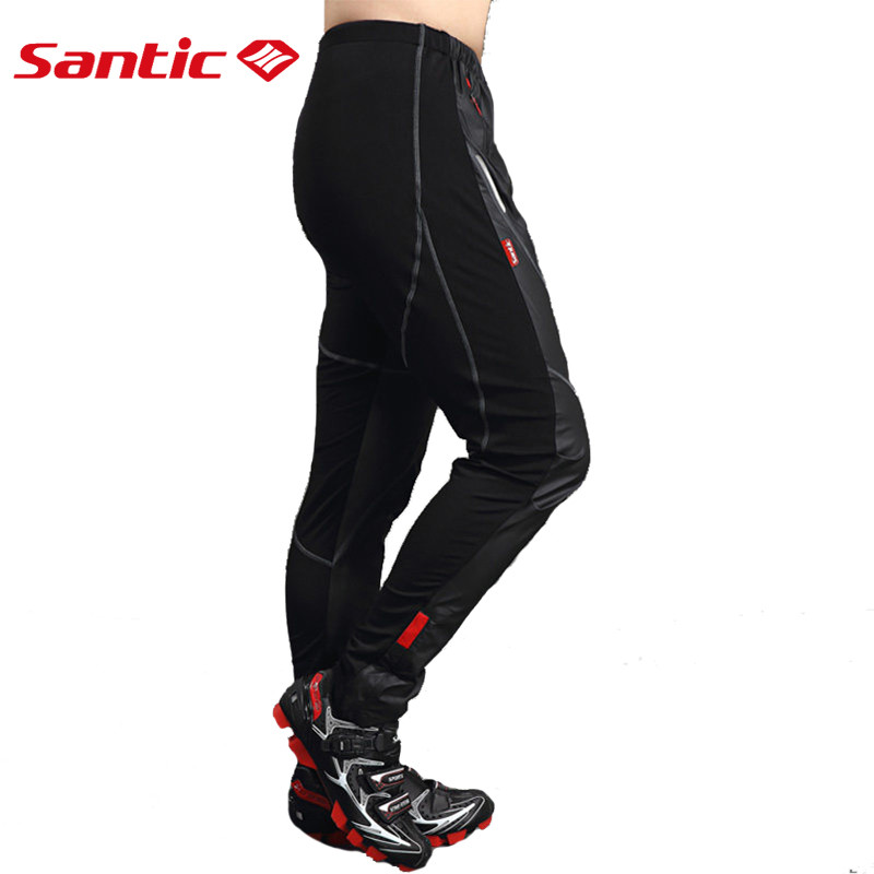 Santic Cycling Pants Winter Windproof Fleece Thermal Trousers Mens Riding Sports Keep Warm Breathable Black Pants outdoor sports winter thermal fleece warm ski hat earmuffs cycling cap windproof hiking riding snow cap men women knitted hat