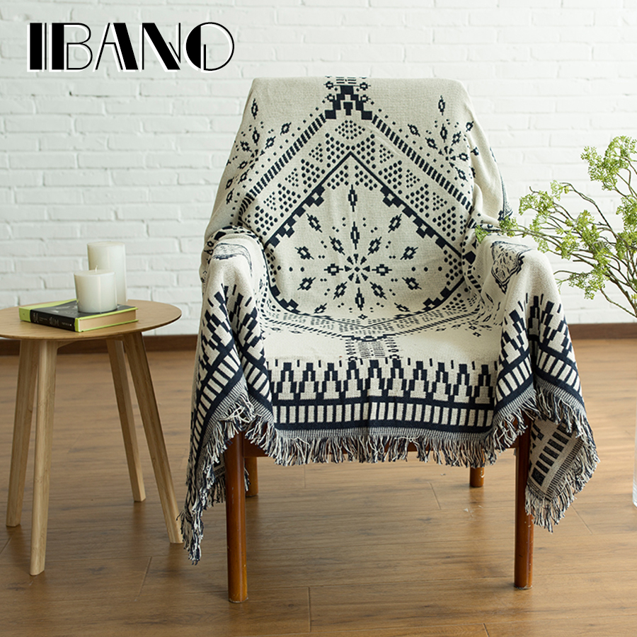 Cotton Throw Blanket Sofa Cover 130x180CM Vintage IBANO Thread Blanket For Home Decorative Beed Sheet Floor Mat Tablecloth double sides reversible mysterious style blanket 130 160cm durable wearable comforter sofa cover cloth pet blankets floor mat