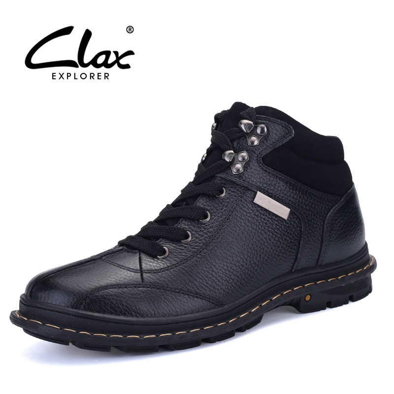 CLAX Men Winter Shoes 2017 Genuine Leather Casual Boots Male Handmade Snow Shoe Plush Fur Warm Footwear Big Size clax men dress boots genuine leather 2017 winter black formal shoes male handmade snow shoe plush fur warm footwear big size