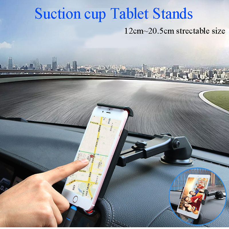with 12 cm ~ 20.5 cm clips 360 degree turning tablet stand car holder for mobile