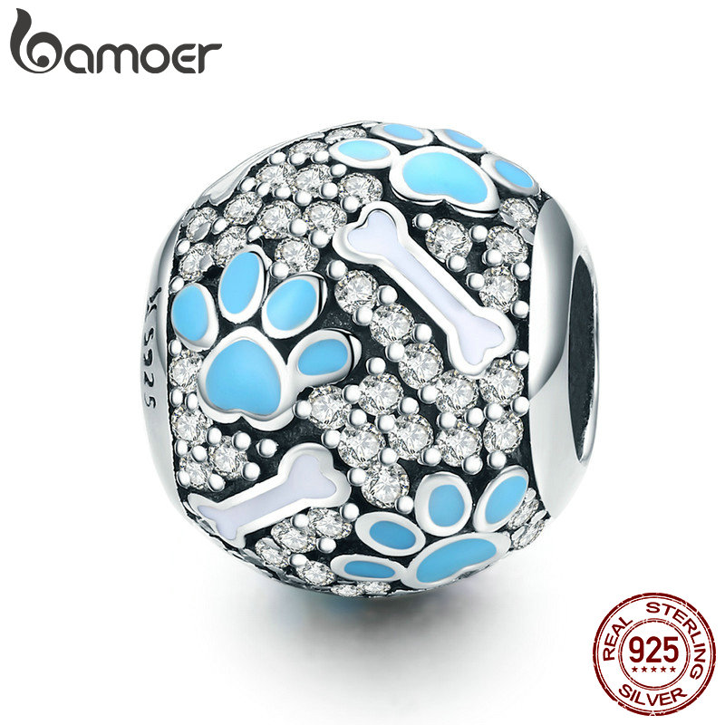 BAMOER Authentic 925 Sterling Silver Clear CZ Dog Footprints Bones Charm Beads Fit Bracelets Necklaces Jewelry Making SCC765 браслет с брелоками bamoer 50