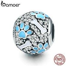 BAMOER authentique 925 argent Sterling clair CZ chien empreintes os perles breloque idéal pour bracelet colliers fabrication de bijoux SCC765