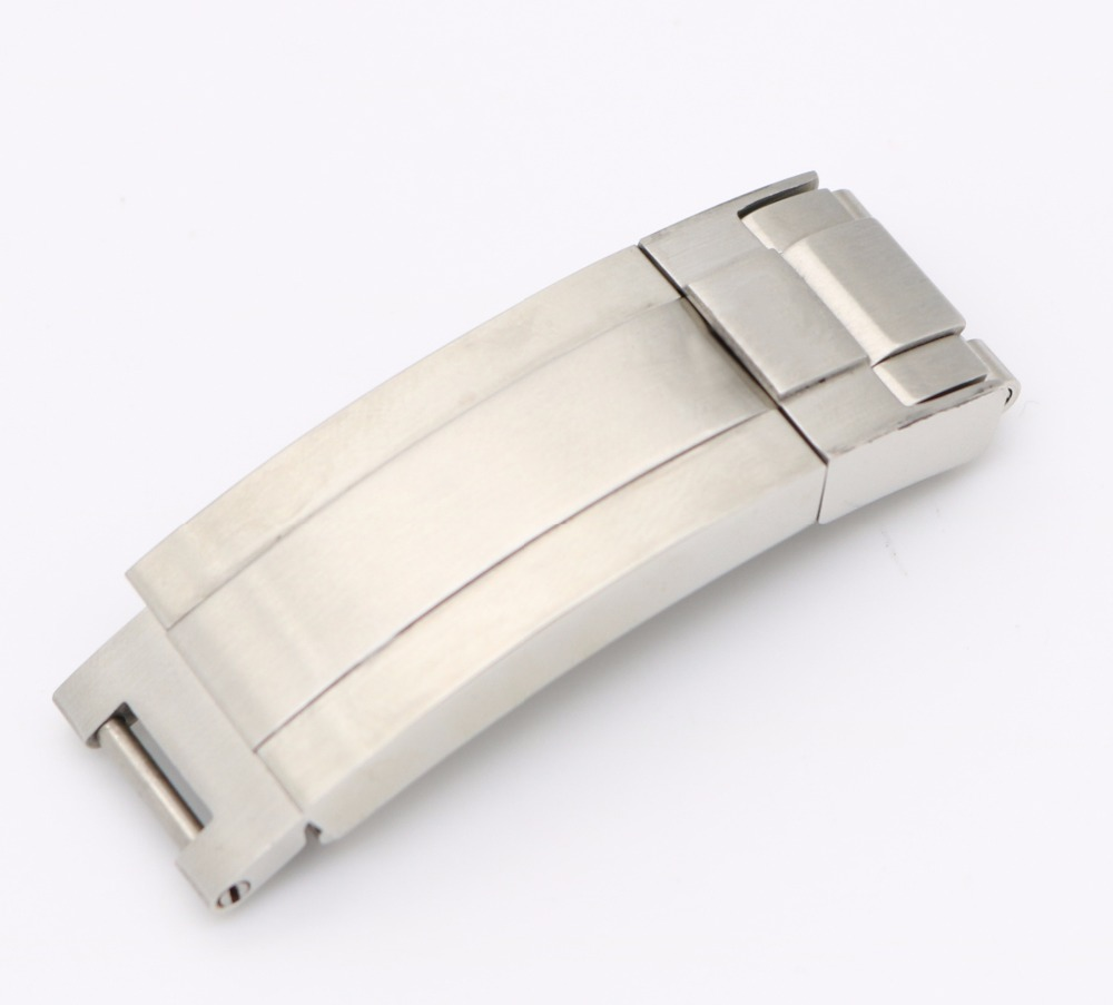 CARLYWET 9mm X 9mm Watch Band Buckle Glide Flip Lock Clasp Silver Brushed Solid Metal Steel For Deepsea GMT Submariner