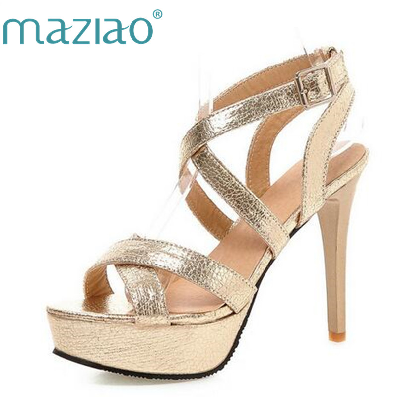 MAZIAO New Design Women Sandals Fashion Cross Strap Super High Heel Sexy Gold Sliver Platform Wedding Party Shoes size 33 43