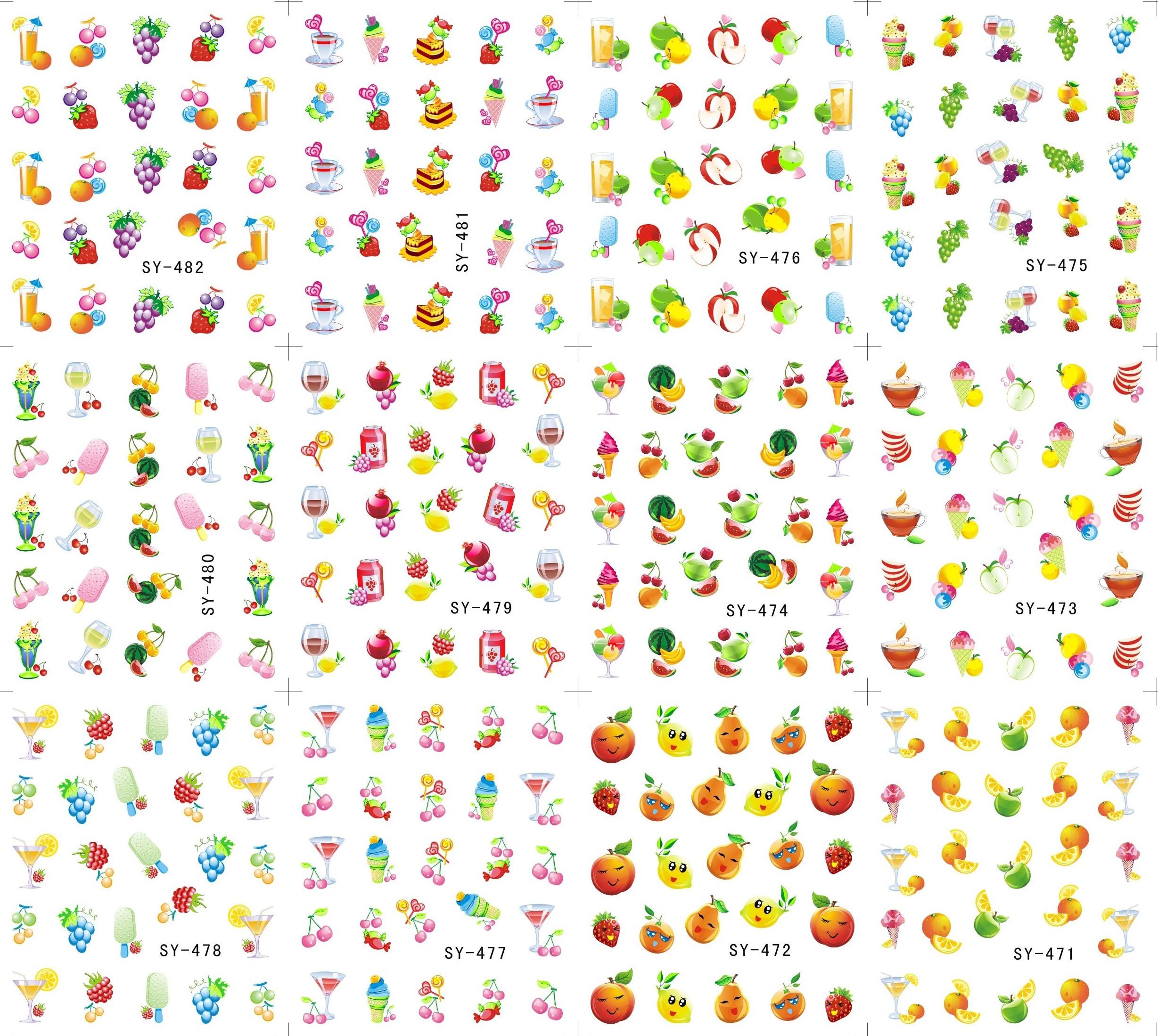 12 Sheets Lot Art Nail Sy471 482 Summer Fruits Nail Art Water Transfer Decal Sticker For Nail
