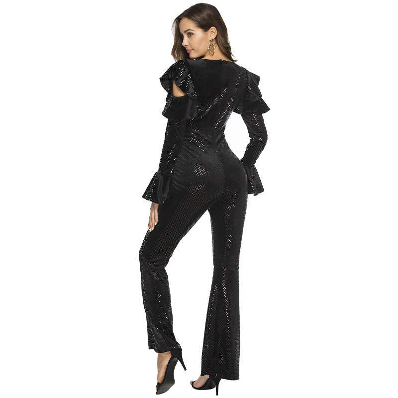 Beyprern блестящий черный блестящий комбинезон с деталью с оборкой для подиума для женщин обтягивающий сексуальный глубокий V комбидресс ночной выход наряды Клубная одежда