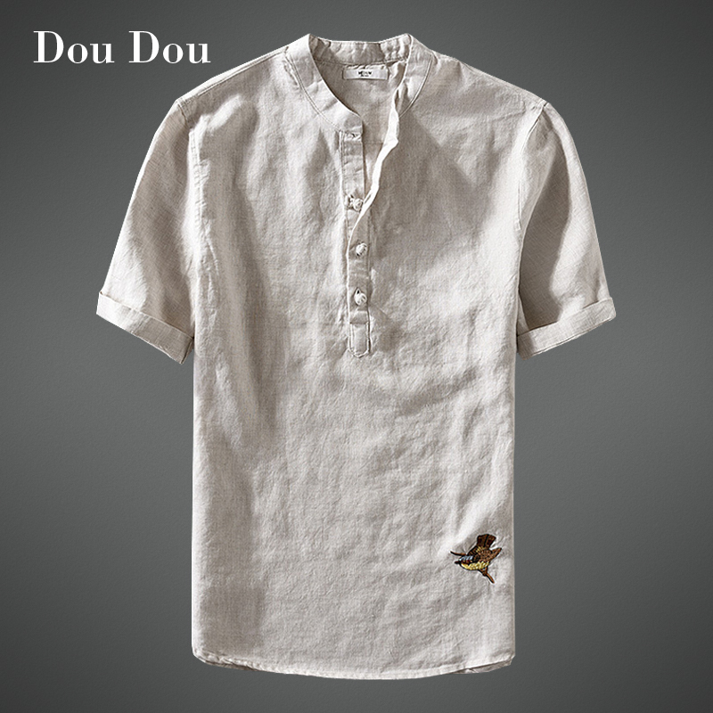 Dou Dou 2018 Summer New Clothes Fashiom Blouse Linen Shirts Men Casual Linen Top Fit Brand Short sleeve Loose Button shirt A5 ...
