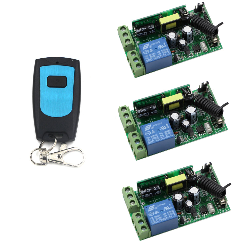 3pcs Receivers & Transmitter AC 85V 110V 220V 250V Wireless Remote Control Switch 10A Relay Switch For Lamp/Light LED ON OFF ac 85v 250v wireless remote control switch remote power switch 1ch relay for light lamp led bulb 3 x receiver transmitter