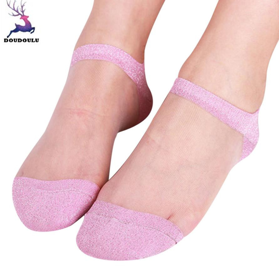 9550c313942 Detail Feedback Questions about DOUDOULU Silky woman silver glitter socks  women Transparent Thin Summer Ankle Socks Creative Sock calcetines mujer ...