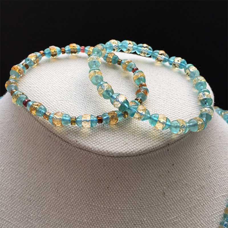 can choose Style Natural 6mm Mixed color apatite Half beads Collocation yellow Bracelet Female models