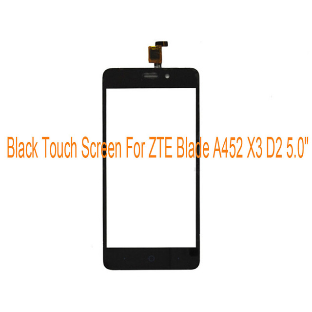 "Black White Gold Touch Screen For ZTE Blade A452 X3 D2 T620 5.0"" Front Glass Digitizer Panel Sensor Glass Lens Replacement"