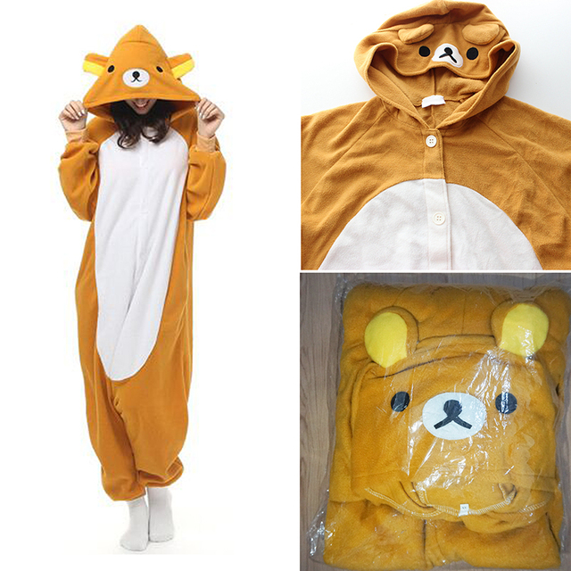 e141415e41 Adult Woman Man Cartoon Rilakkuma Onesies Pajamas Polar Fleece Sleepwear  Pyjamas 2016 Carnival Halloween Costumes