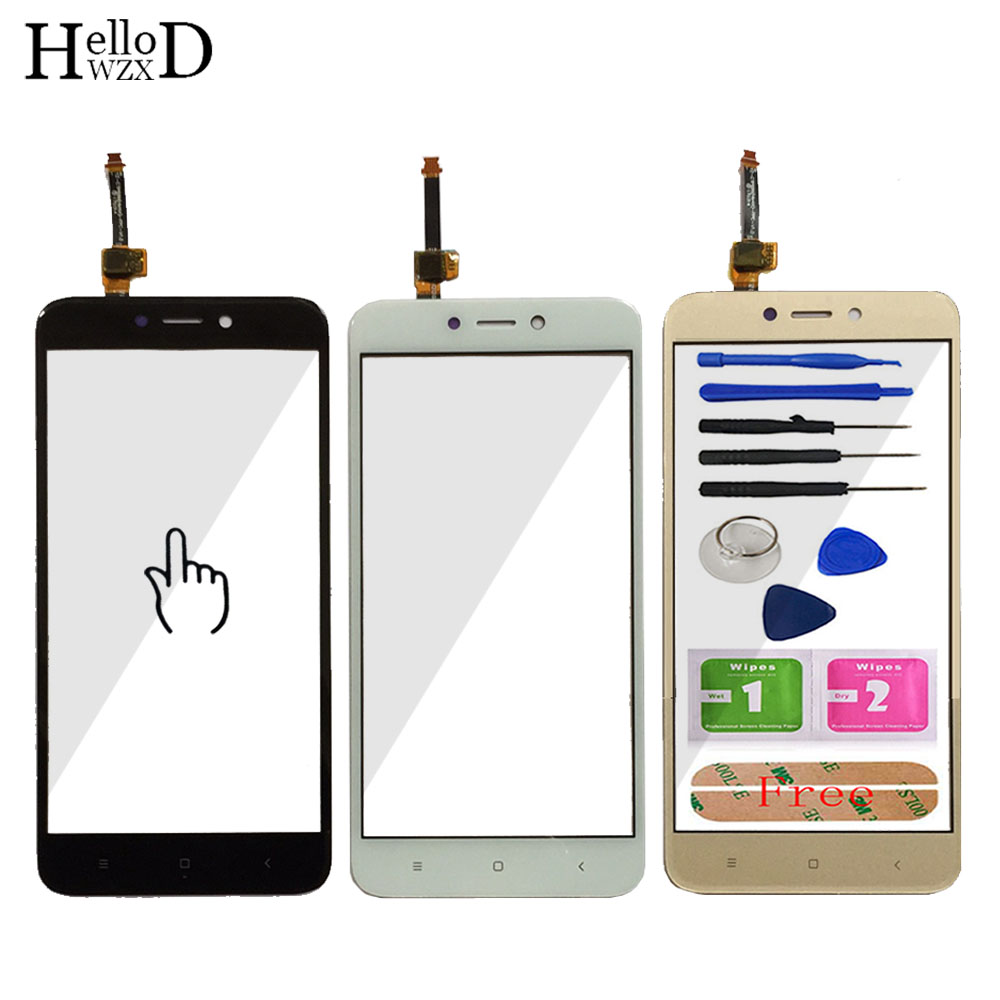5.0'' Mobile Touch Screen For Xiaomi Redmi 4X Front Touch Glass Screen Glass Digitizer Panel Lens Sensor Tools Free Adhesive