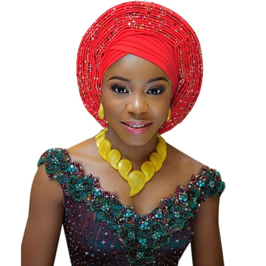 2018 New african aso oke cotton headtie nigerian gele headtie already made auto hele turban cap aso ebi big brim gele (7)