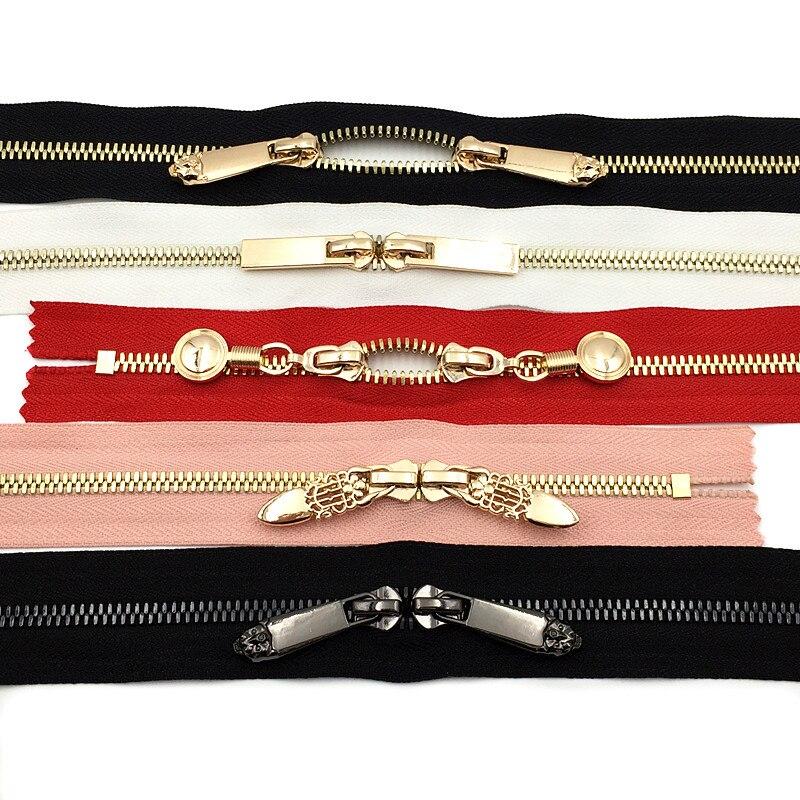 2pcs #5 Metal Zipper For Diy Sewing Short Zipper Double Sliders For Handbag Backpack Two Way Reversible Zip 30cm 40cm 50cm 60cm