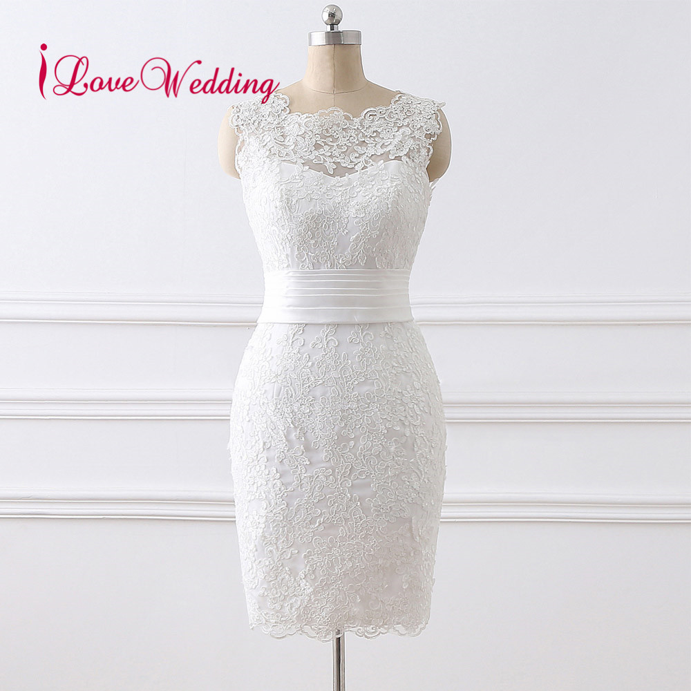 2019 Short Wedding Dress Vestido de noiva Scoop Collar Lace Applique Knee Length Elegant Wedding Gowns
