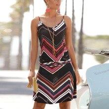 Женское сексуальное летнее платье без рукавов с принтом и круглым вырезом, пляжные облегающие вечерние мини-платья, летние пляжные платья vestidos