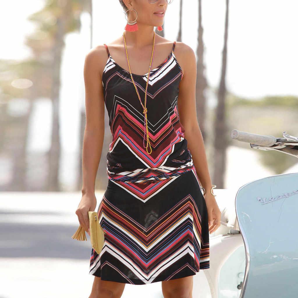 Bayan seksi yaz elbisesi kolsuz baskılı o-boyun plaj Bodycon parti Mini camiş elbiseler yaz plaj elbise 2019 vestidos