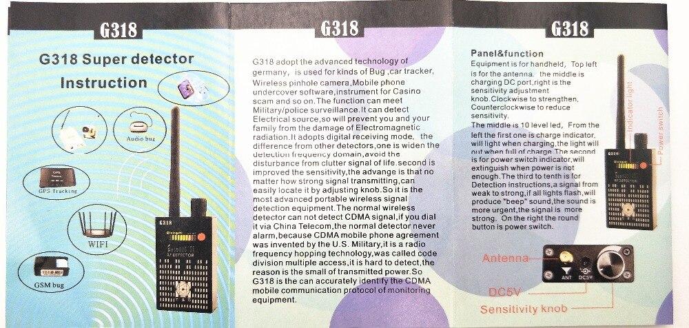 Super G318 portable Anti-Spy Amplification signal detector spy bug wireless  Detector WIFI finder
