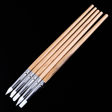 5Pcs Soft Silicone Nail Art design stamp Wooden Pen Brush Set Carving Craft Pottery Sculpture UV Gel Building brushes DIY Tools