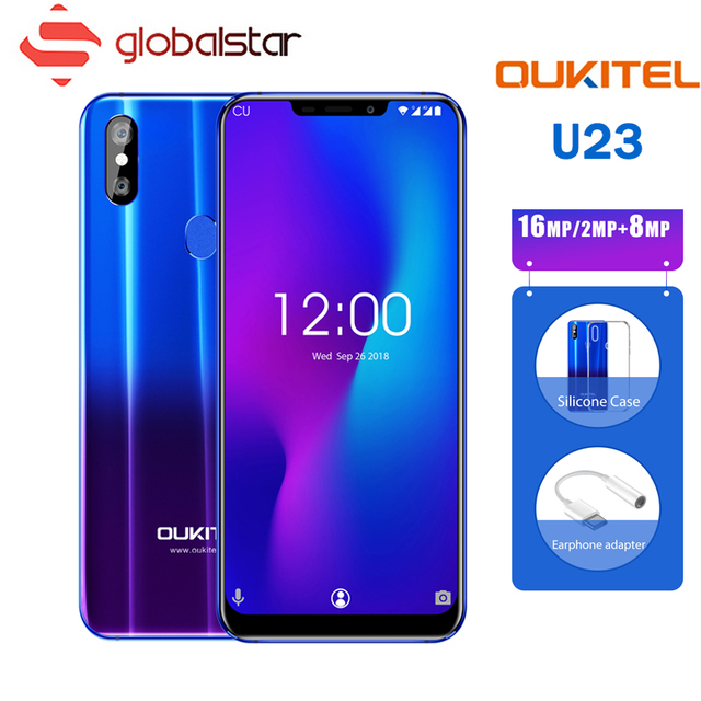 "OUKITEL U23 6.18"" Notch Display Android 8.1 Mobile Phone P23 Octa Core 6G 64G 3500mAh Wireless Charge Face ID Type-C Smartphone"