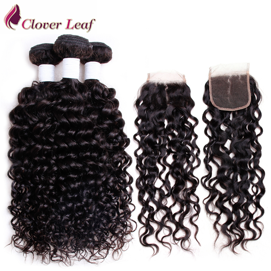 Clover Leaf Peruvian Human Hair Water Wave 3 Bundles With 4x4 Closure Remy Hair Weave Bundle With Closure 4*4 Lace Natural Color