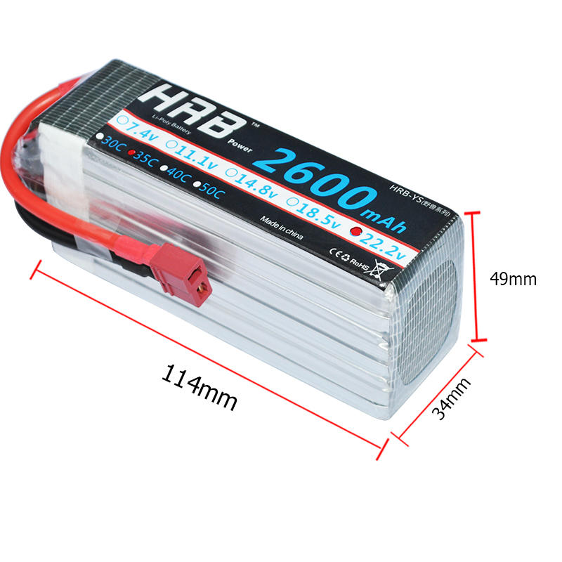 HRB RC Lipo Battery 6S 22.2V 2600mAh 35C MAX 70C Drone AKKU Bateria For RC Trex 500 Helicopter Airplane Car Quadcopter UAV mos 2s rc lipo battery 7 4v 2600mah 40c max 80c for rc airplane drone car batteria lithium akku free shipping