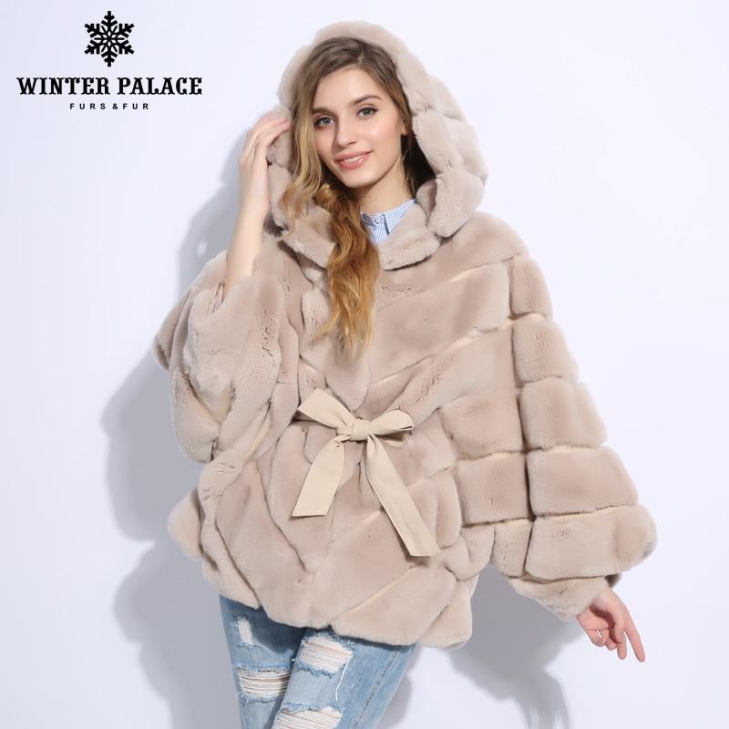 Abrigo de piel de invierno 2018 nuevo abrigo de piel de rabblt Casual rex rabblt abrigo de piel real sólido rex rabblt abrigo de piel o-Cuello Palacio de Invierno