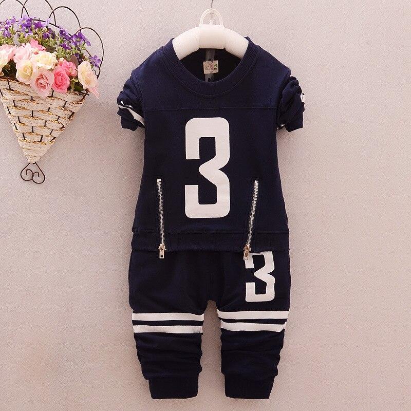 4colors Boys Clothing 2016 Casual Kids Suits Spring/Autumn Letters Tshirt + Pants Cotton Sports Suits Children Tracksuit Boy