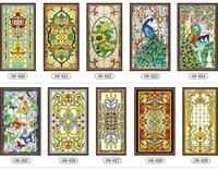 2018 Custom electrostatic scrubs translucent church stained glass windows doors wardrobe furniture foil stickers 58cmx158cm 4pcs
