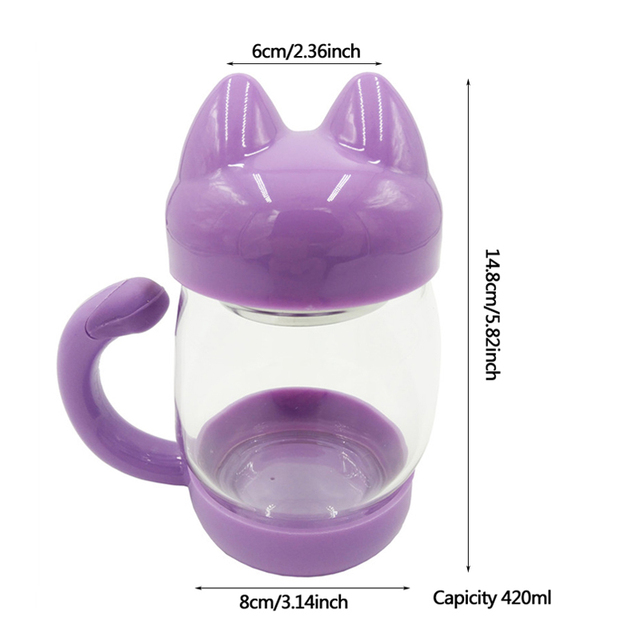 Cute Glass Water Coffee Kettle shaped Bottle With Filter 420ML 2