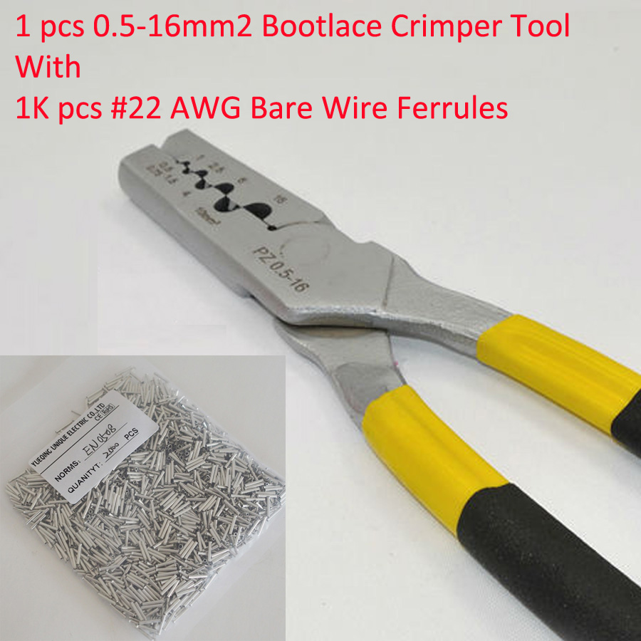 PZ0.5-16 0.5-16mm2 Crimping Tool Bootlace Ferrule Crimper and 1K #22 AWG EN0508 Bare Bootlace Wire Ferrules free shipping 1000pcs bootlace ferrule kit electrical crimp crimper cord wire end terminal