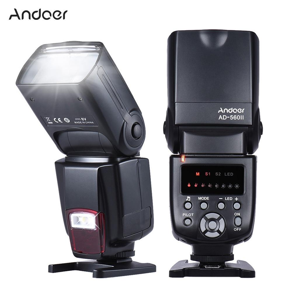Andoer AD 560II Universal Flash Speedlite On camera Flash GN50 w Adjustable LED Fill Light for