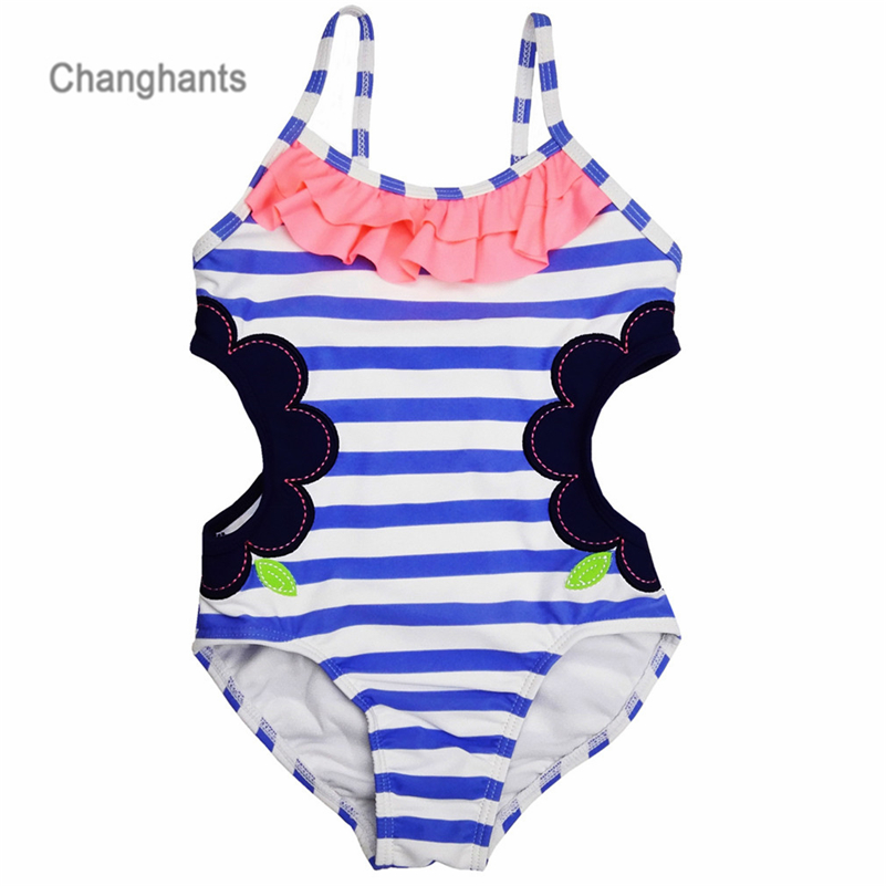 Baby One Piece Girls Swimwear  Light Blue Striped with Hollowing Design 1-14Y Kids Swimsuit Children Swimming wear sw0607 UPF kids swimming suits for girls one piece swimsuit swimwear children 2018 new green printing one piece retro baby biquini