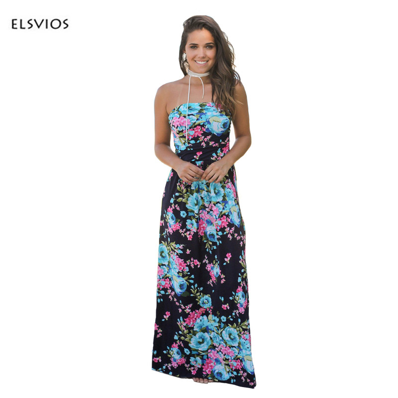 ELSVIOS Women Sexy Strapless Floor-Length dress Floral printed Boho Dress Ladies waist wrapped 2017 Summer Maxi Dress vestidos
