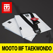 MOOTO IIIF uniform High quality child adult WTF taekwondo karate dobok cotton breathable fitness sport clothes suit black V-neck(China)