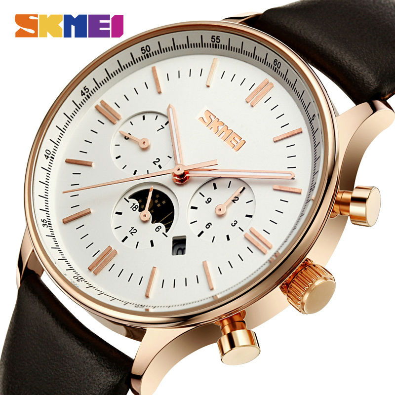 SKMEI Fashion Watches Men Business Quartz Wristwatches 30M Waterproof Casual Leather Brand Casual Watch Relogio Masculino