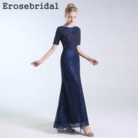 2018 Autumn New Evening Dress Long Lace Beading Bodice Elegant O Neck Blue Dress Party Vestido De Festa 48 Hours Shipping