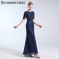 b2bdc9dd62 2019 Autumn New Evening Dress Long Lace Beading Bodice Elegant O Neck Blue  Dress Party Vestido
