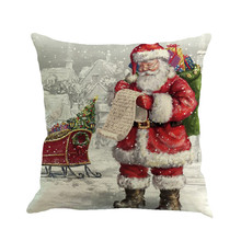 Navidad estampado de Papa Noel teñido funda de almohada Multicolor estilo europeo y americano cojín sofá cama para decoración de hogar