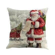 Noël père noël impression teinture taie doreiller multicolore style européen et américain housse de coussin canapé lit décor à la maison
