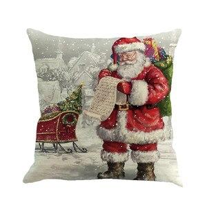 Image 1 - Noël père noël impression teinture taie doreiller multicolore style européen et américain housse de coussin canapé lit décor à la maison